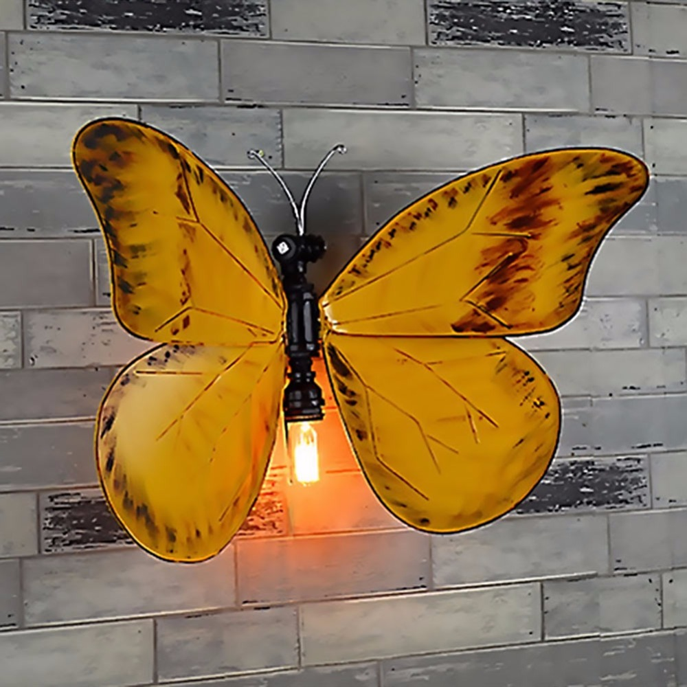 Lamp Light Retro LED Water Pipe Wall Light Butterfly Shape Wall Lamp For Bedroom Wall Sconce Indoor Lighting Lamp led indoor studio lighting lamp for reading books led wall lamp for the bedroom strdyroom children wall lamp clothingstour light