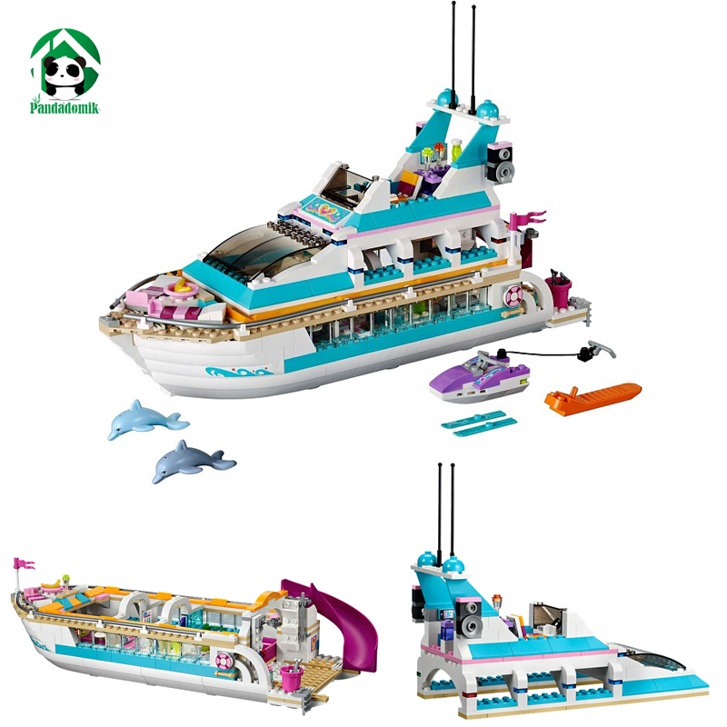 Dolphin Cruiser Building Blocks Set Friends Ship Boat 618 Pcs 3 Figures Dolls Toy Bricks Toys for Girls Birthday Gift lis 10172 bela friends girl dolphin cruiser vessel ship building blocks big set compatible with gift bricks kid toy