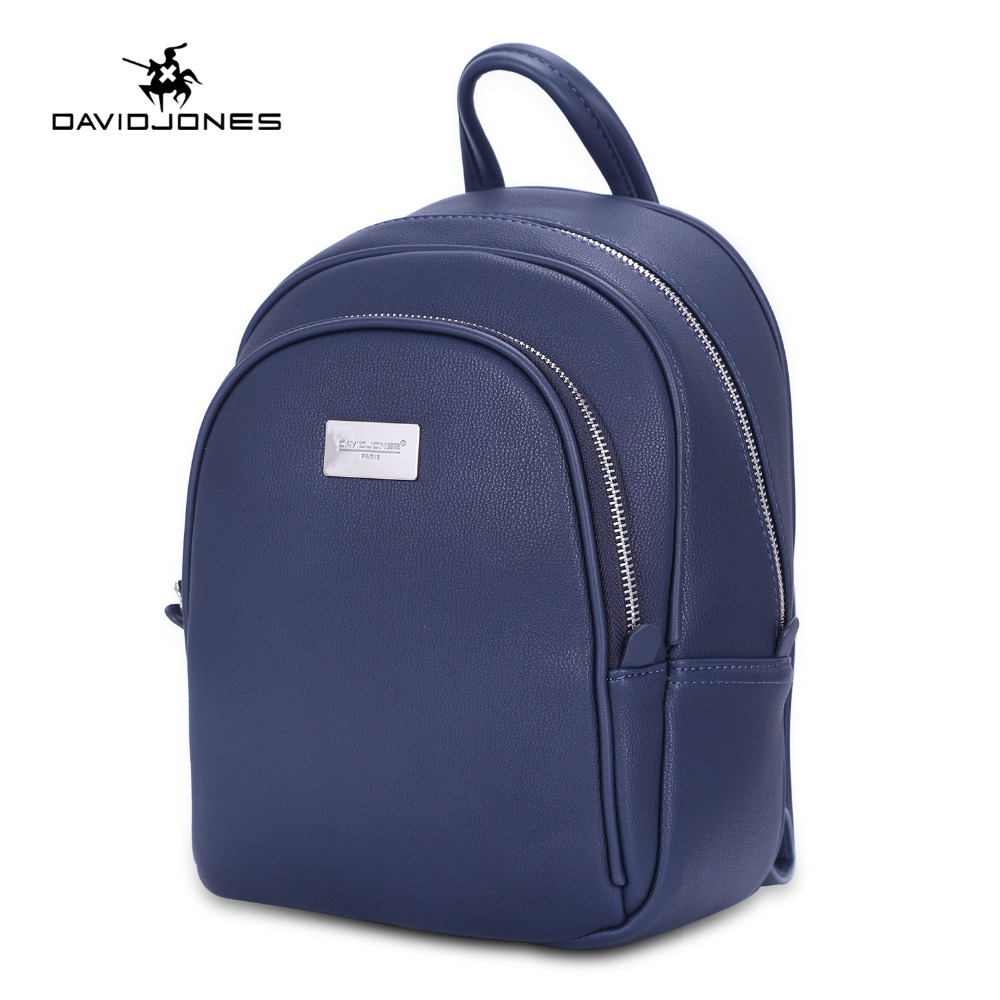 DAVIDJONES women backpack faux leather female shoulder bags