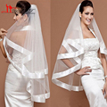 Charming Bridal Veil Wedding Ribbon Satin Trim Edge 2 Layer White/ivqory Free Shipping wedding veil with comb