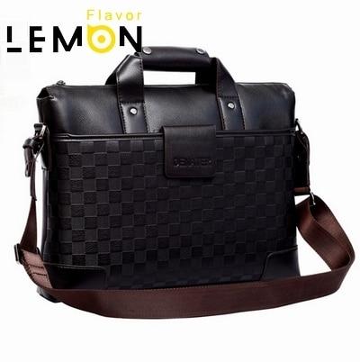 New 2017 Plaid PU Leather Men Messenger Bag Leisure Computer Men Handbag Brand Men Briefcase Fashion Men's Travel Bags MB205