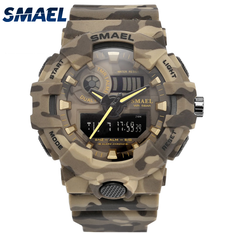 New Camouflage Military Watch SMAEL Brand Sport Watches LED Quartz Clock Men Sport Wristwatch 8001 Mens Army Watch Waterproof smael 1708b