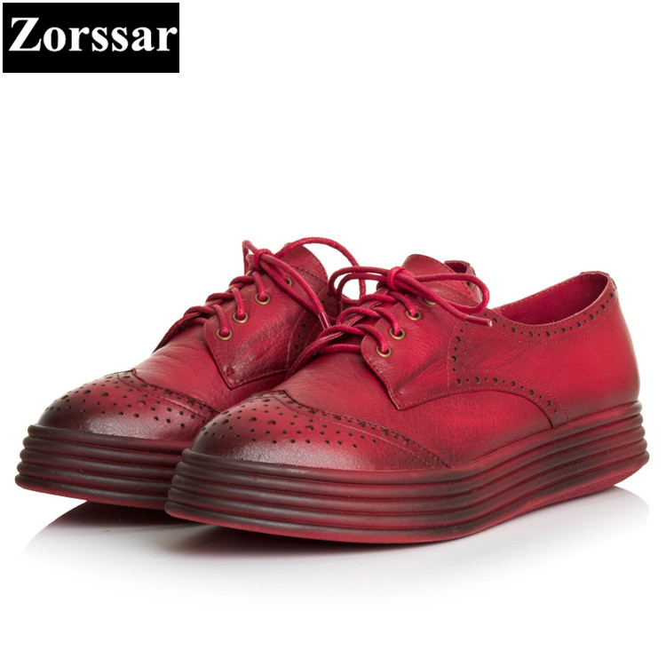 {Zorssar} Spring and autumn Womens flat shoes Luxury brand Real leather woman loafers casual lace up women flats platform shoes rihanna pu leather creepers flat platform shoes woman 2016 casual loafers black pink flats lace up women shoes