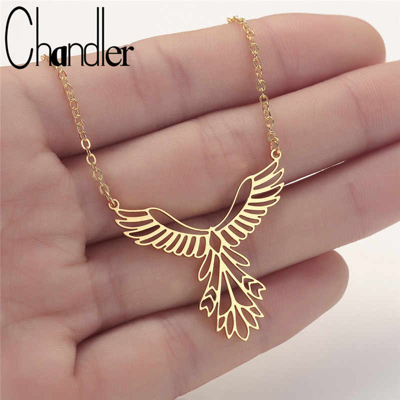 Chandler Stainless Steel Phoenix Necklace Origami Bird Pendant Lucky Gift Chain Chokers Bijoux Homme Femme Bijoux Wholesale