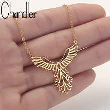 Chandler Stainless Steel Phoenix Necklace Origami Bird Pendant Lucky Gift Chain Chokers Bijoux Homme Femme Bijoux Wholesale(China)