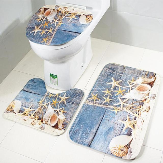Bath Mat Sets 3 Piece Bathroom Non Slip Blue Ocean Style Pedestal Rug + Lid