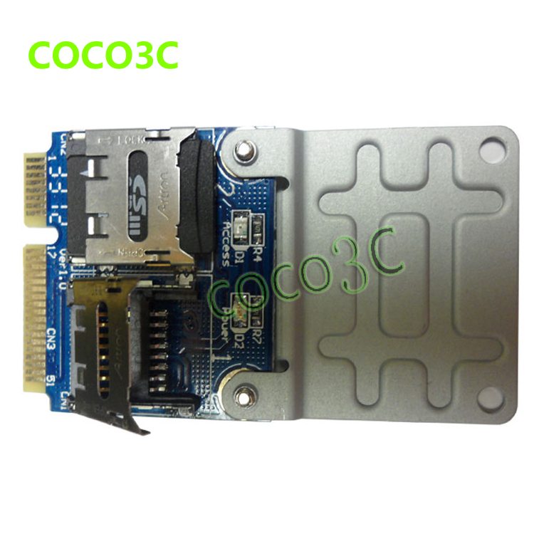 Free shipping Dual Micro SD SDHC SDXC to Mini PCI-e Memory Card reader Mini PCI express SSD HDD adapter