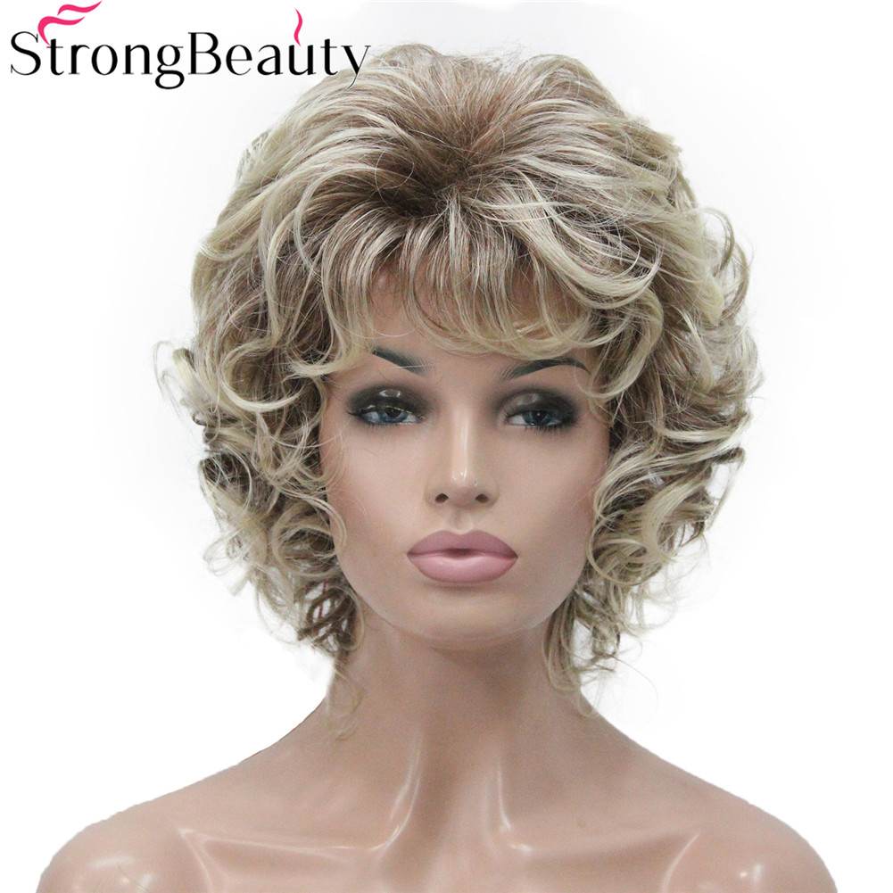 StrongBeauty Synthetic Short Curly Wigs Heat Resistant Full Capless Hair Women Wig