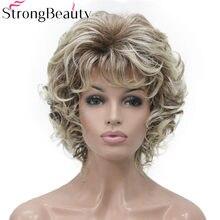 Strongbeauty sintético curto encaracolado perucas resistente ao calor completo capless cabelo peruca feminina