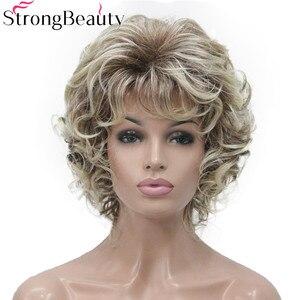 Image 1 - StrongBeauty 合成ショートカーリーウィッグ耐熱キャップレスヘアの女性のかつら
