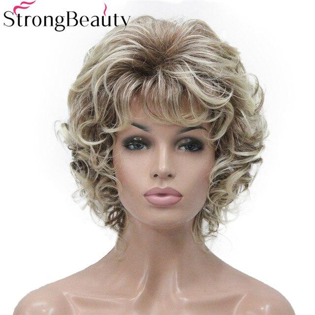 StrongBeauty 合成ショートカーリーウィッグ耐熱キャップレスヘアの女性のかつら
