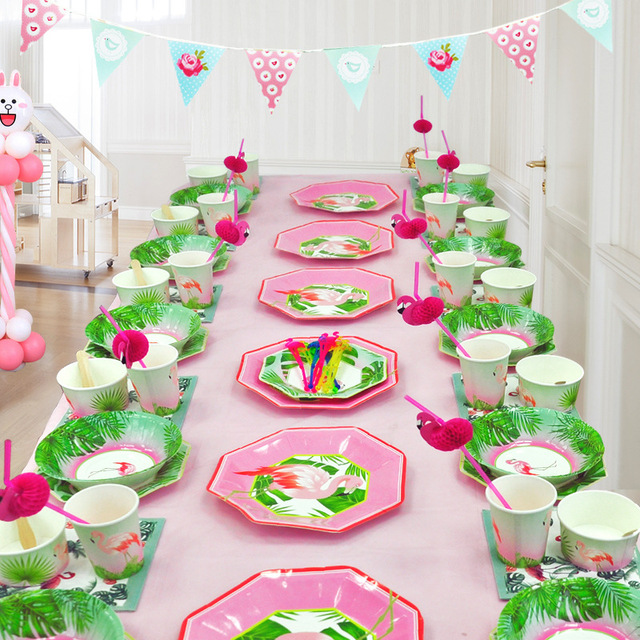 Table Setting Kit Festa Flamingo Theme 1st Birthday Party
