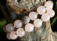 B1510165604 Rose Quartz Beads Silver Pave CZ Ball Bracelet Set