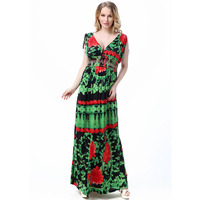 Fashion Vestido Europeu Large Size 4XL 5XL 6XL 7XL New Flower Printing Australia Deep V Neck