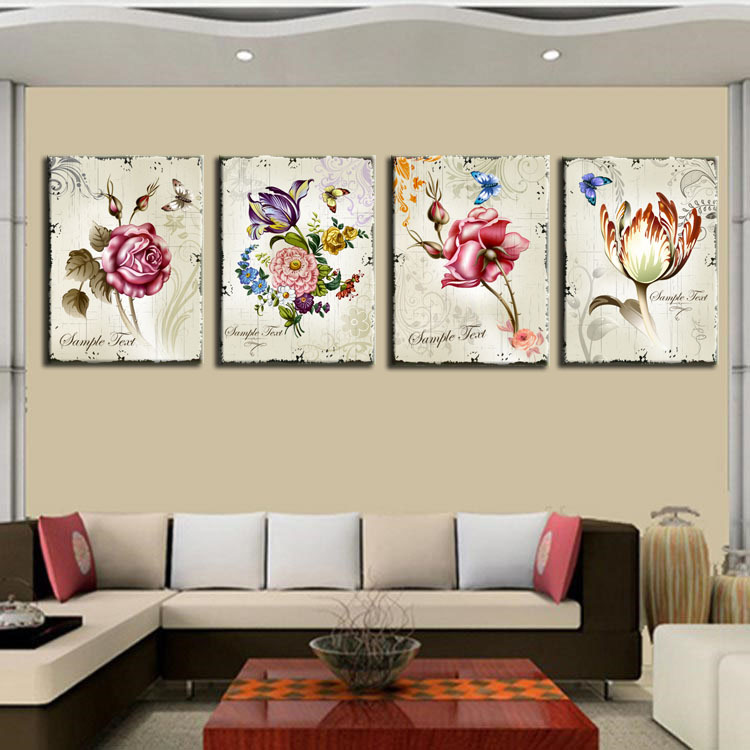 4 Pieces Classic Floral Wall Art Canvas Prints Flower Combination ...