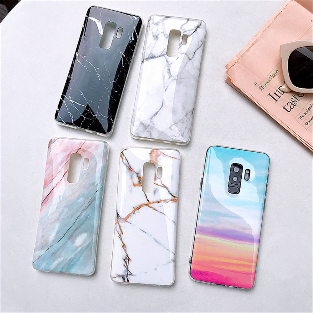 official photos 731ef f4976 US $1.19 40% OFF|Luxury Marble Phone Case For Samsung Galaxy S10 S10E S9 S8  Plus S7 edge Case Silicone Cover For Samsung Galaxy Note 9 8 Case-in ...