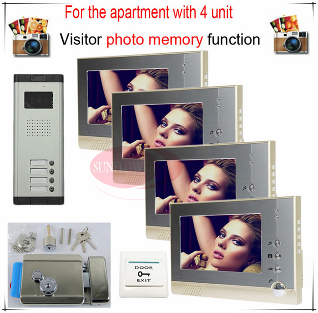 4v4 Take Photos Color Video Door Phone Intercom Doorbell System  For Four Units Apartment  + Electronic control lock