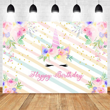 Mehofoto Unicorn Themed Happy Girls Birthday Party Photography Backdrops Floral Stripes Glitter Cake Table Background