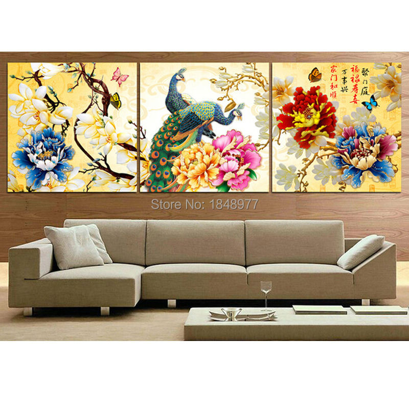3 Piece Cuadros Deocracion Chinese Painting Home Decorative Wall