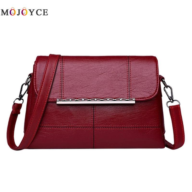 Retro PU Leather Women Shoulder Bags Luxury Brand Flap Messenger Bag Elegant Office Ladies Handbag Bolsa Feminina 3