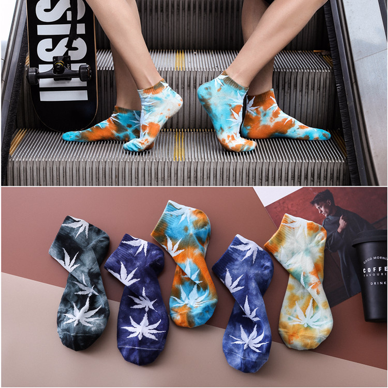 Harajuku fashion men and women cotton   socks   street hip hop sports skateboard maple leaf   socks   Korean style cool hemp   socks