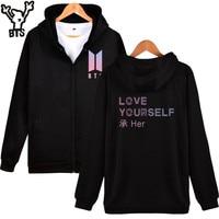 BTS Love Yourself Zipper Harajuku Hoodies Women Winter Bangtan Kpop Sweatshirt Women Hoodies DNA Album Hip Hop Zipper Clothes