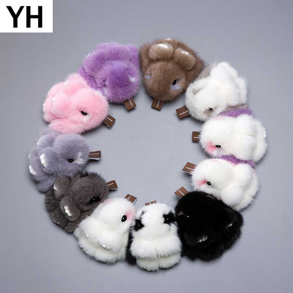 2018 Gril Cute Pluff Bunny Keychain 8cm Real Genuine Mink Fur Key Chains Women Hot Bag Toys Doll Fluffy Pom Pom Lovely Keyring