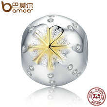 BAMOER Autumn Collection 925 Sterling Silver White & Gold Edelweiss Clear CZ Beads fit Charm Bracelets Jewelry Gift SCC180