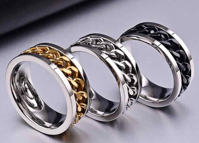 Queen New Trendy Jewelry Titanium Steel Men Women Finger Ring with Chain Inset Holiday Gifts Individual Style Rings three colors