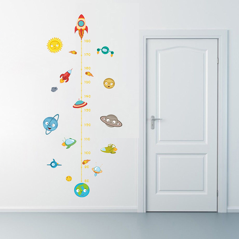 Solar System Rocket Height Measure Wall Stickers Kids Nusery Rooms Outer Space Sky Decals Growth Chart PVC Mural Decor Wall Art in Wall Stickers from Home Garden