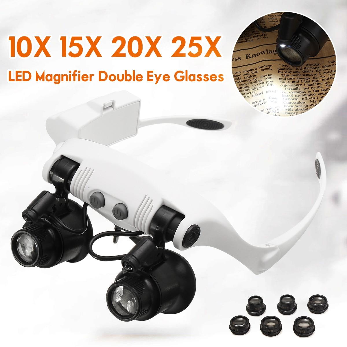 LED Lamp 10X 15X 20X 25X LED Magnifiers Double Eye Glasses Loupe Lens Jeweler Watch Repair Measurement 20-50mm with 8 Lens окуляр для зрительных труб nikon prostaff 5 20x 25x