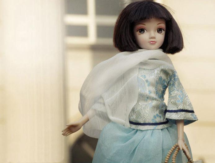 A0370 Best girl gift in box 29cm Kurhn Chinese Doll Spring Fairy Chinese Gift Traditional girl student with Cheongsam