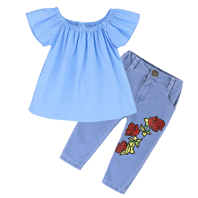 2018 Summer Children Clothing Baby Girls Clothes Tshirt+Jeans 2pcs Kids Clothes Sport Suits For Girls Clothing Set 5 2 6 7 Years