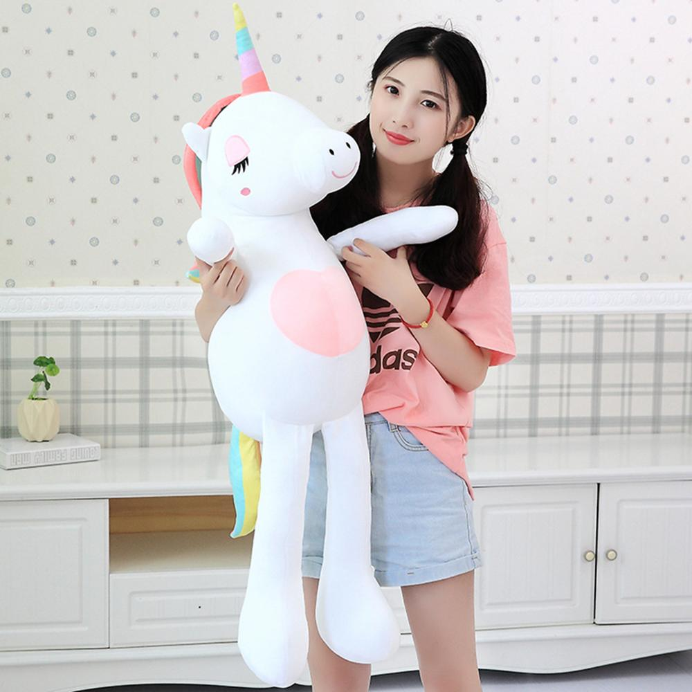 1pc 60-140cm New Kawaii Rainbow Unicorn Plush Toys Stuffed Animal Horse Plush Doll For Children Kids Appease Toy Gift For Girls