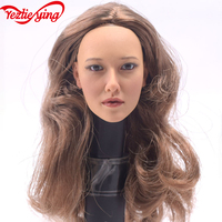 KUMIK Handmade 1/6 Female Head Phicen Carves Sculpture Head Brown Hair f 12DIY Collectible Action Figurine Doll Phicen Body Toy