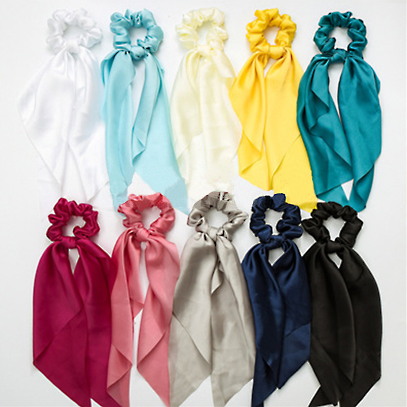New Popular Ribbon Elastic Rope Solid Satin Scrunchie Hair Headband Scarf Ties Hair Band Bow