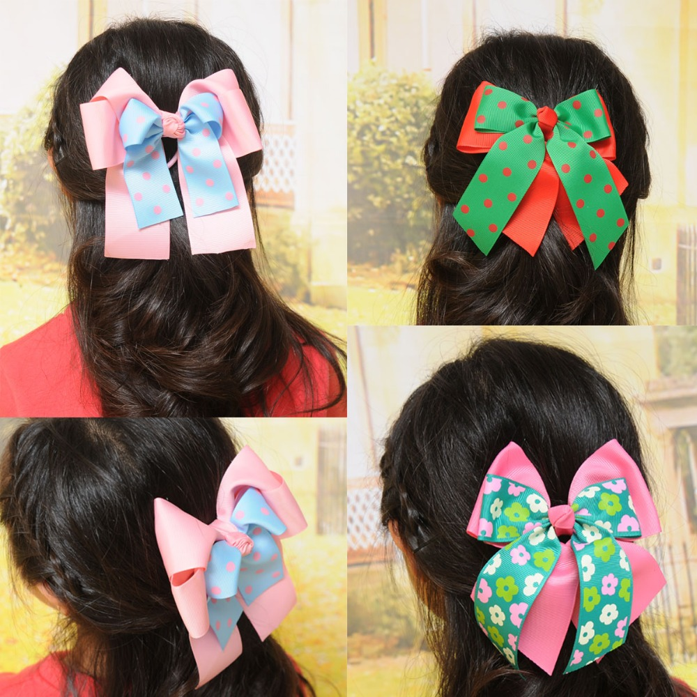 10pcs 6C- Double Cheer Leader Sweet Solid Print Bow Elastic Hair ropes Kids Hair ties Adorable Ponytail Holder Hair Accessories
