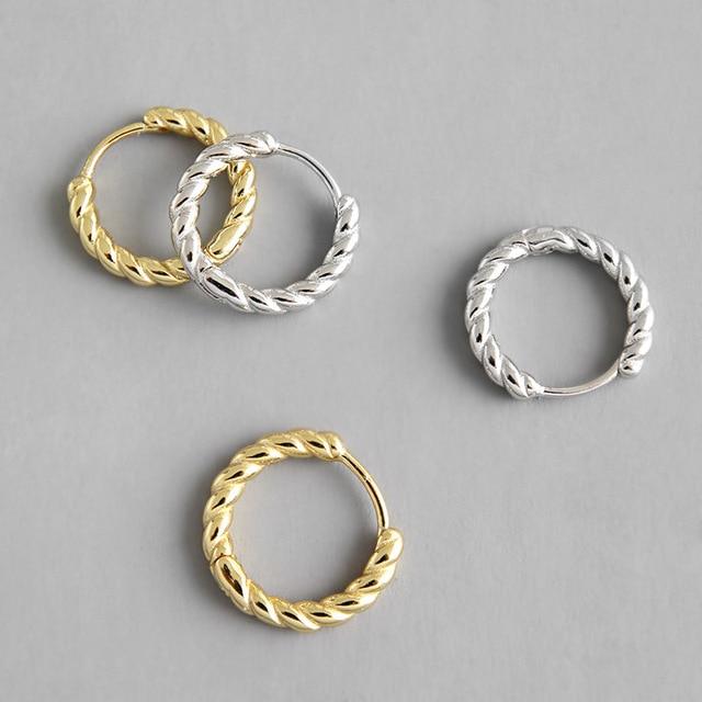 732aad555d58 HFYK 925 Sterling Silver Earrings 2019 Gold Twist Round Circle Hoop  Earrings For Women Pendientes Mujer