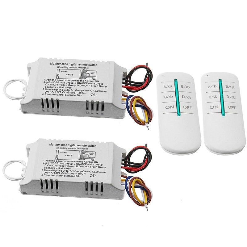 220V 4 Ways ON/OFF/Sleep Digital RF Remote Control Switch Wireless 315Mhz For Light Lamp New y f211b1n4 free shipping 220v 433mhz four ways wireless digital on off remote control switch with 4 receivers 110v