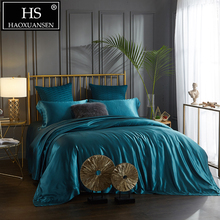 100% Mulberry Silk 4 Pcs Bedding Sets With Hidden Button Both Side 19 Momme Sheet Quilt cover Pillow case King Size Blue