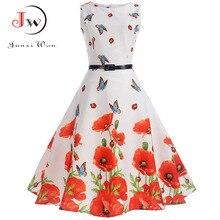 Для женщин Винтаж платье без рукавов летнее платье элегантный 50 s 60 s ретро Цветочный принт поясом партия офисные Повседневное Платья для женщин Vestidos