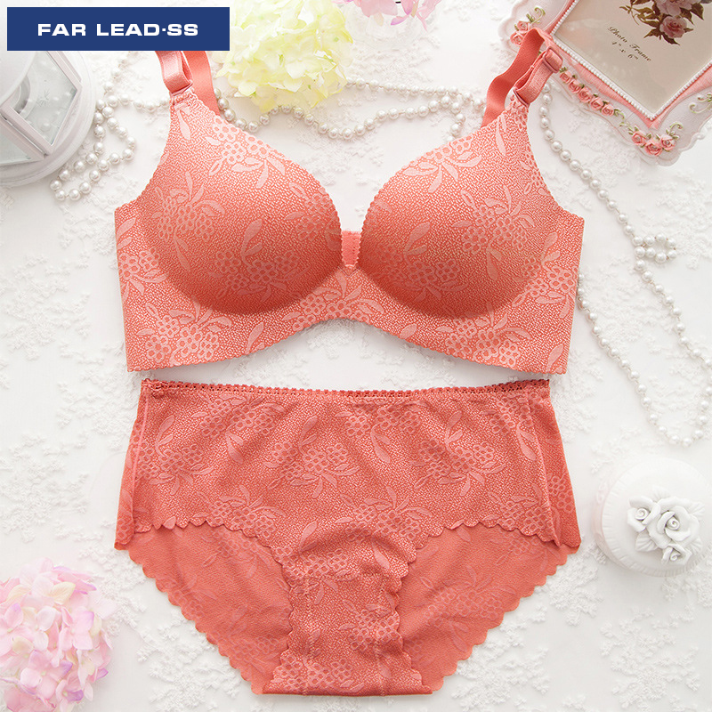 FAR LEAD Luxurious jacquard bra set, push up bra sexy lingerie Seamless women underwear suits Comfortable close-fitting panty