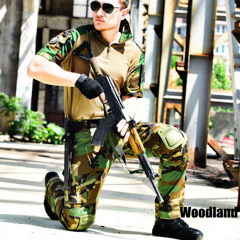 Vêtements militaires de Camouflage Court pull militaire Camouflage forestier Chemise + pantalon cargo Paintball Tactique ensemble de vêtements