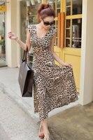 2018 heißer verkauf bekleidung Wunderschöne Leopard Maxi sommer beiläufige lange boho kleid mode frauen kleidung Sommerkleid Kleid