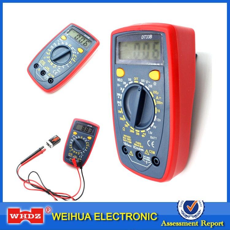 WHDZ DT33B Digital Multimeter Backlight Buzzer Protection AC DC Ammeter Voltmeter Ohm Portable Meter Data Hold Battery Test
