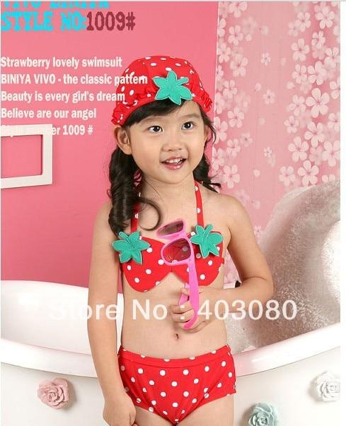 Hi-Q  Red strawberry 3 suit Baby swimsuit Children's bikini/baby swimsuit Beach pants