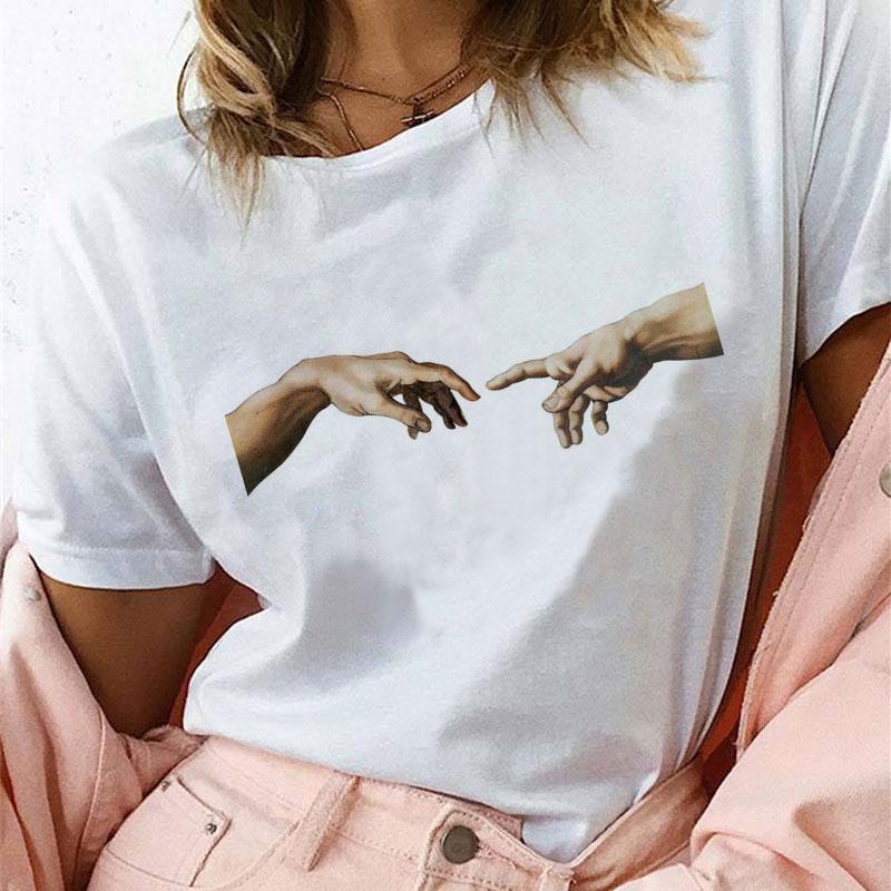 2019   Shirt   Korean Women Fashion David Michelangelo Print   Blouses   Fashion Harajuku Short Sleeve Plus Size White Women   Shirts   Tops
