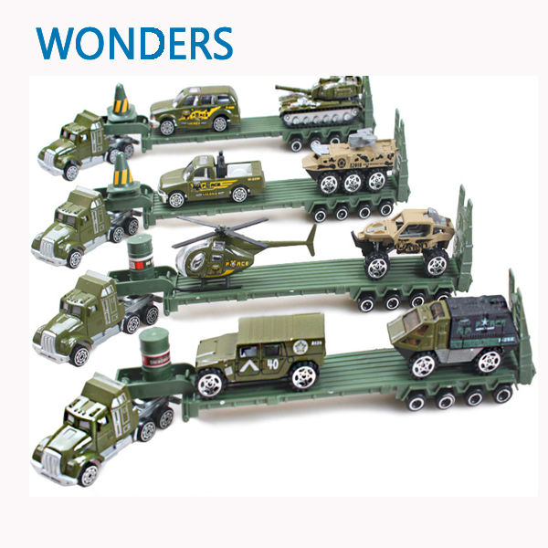 Toy Army Cars : Alloy car transporter army truck with cars vehicles