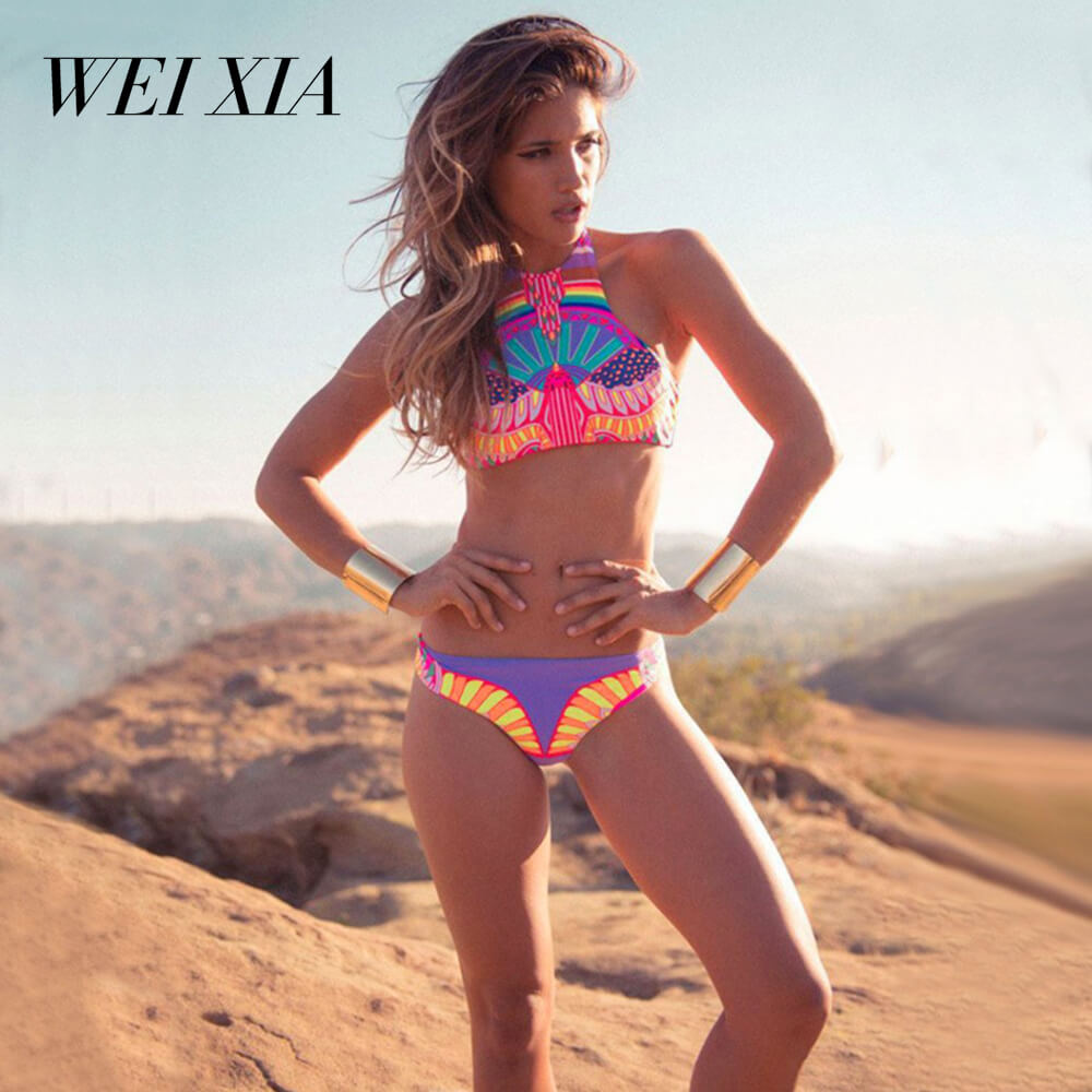 WEIXIA Sexy Aztec High Neck Cropped Top Swimsuit 2017 Junior Bikini Brazilian Retro Print Biquini Bodycon Padded Halter Swimming