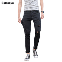 Jeans Men 2018 New Summer Straight Slim Distressed Stretch Jeans Male Denim Pants Ripped Design Skinny